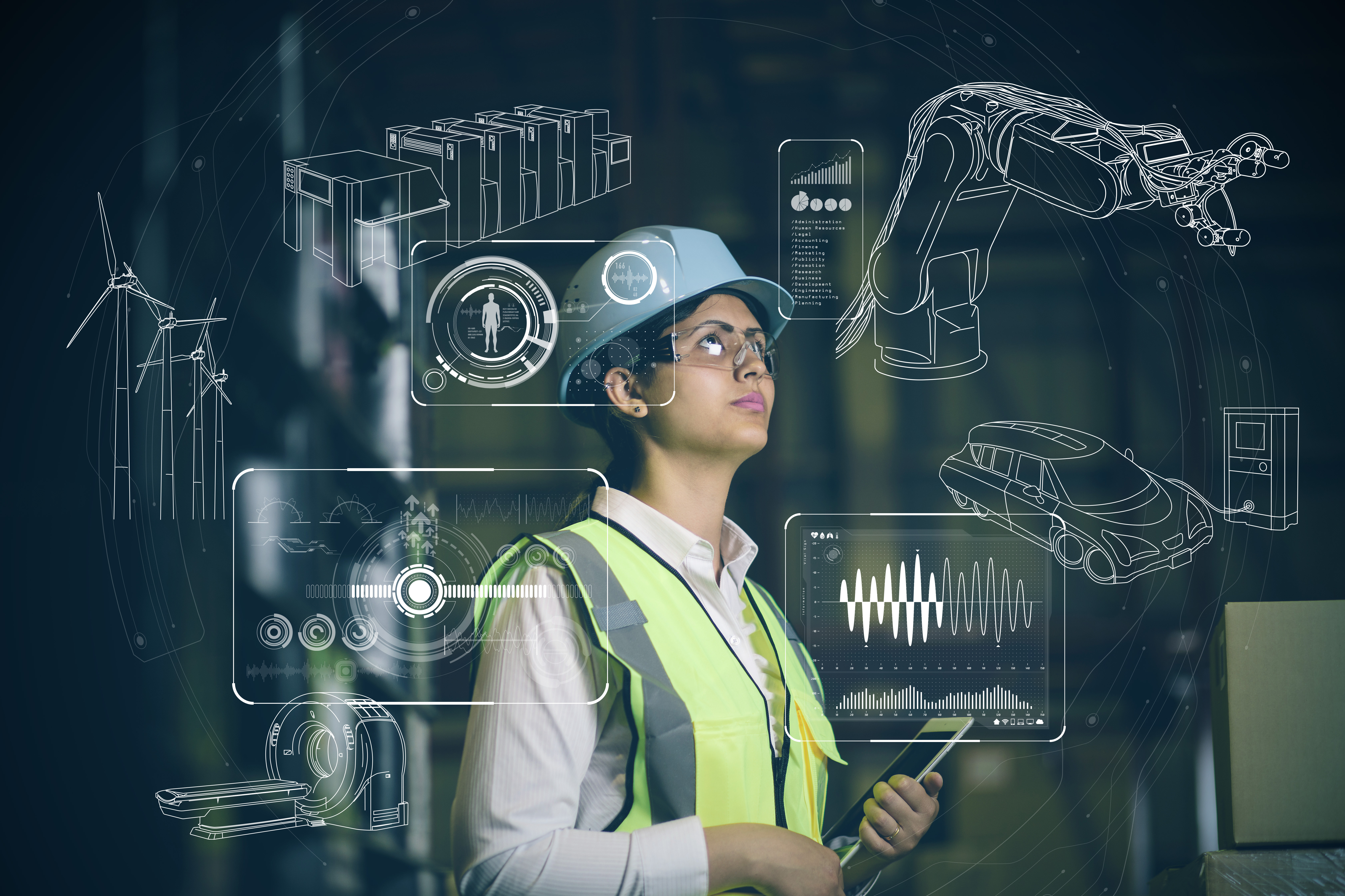 engineer and various business information. Internet of things industry.