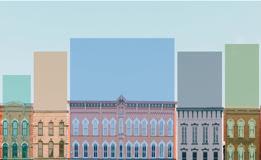buildings with graph columns overlaid